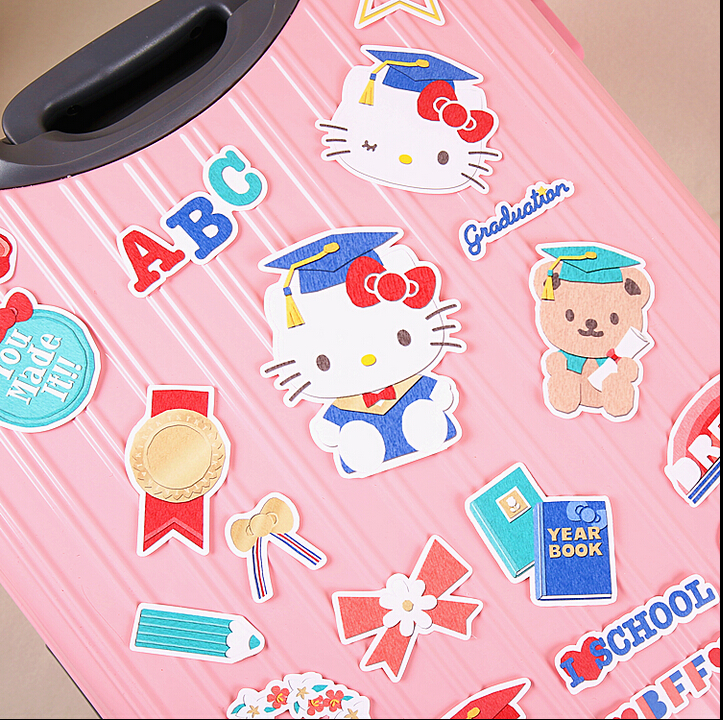 21pcs Creative Cute Self-made hello kitty stickers / trolley case / computer notebook stickers 14pcs creative kawaii lovely cute self made victoria rabbit animal stickers trolley case computer notebook stickers luggage