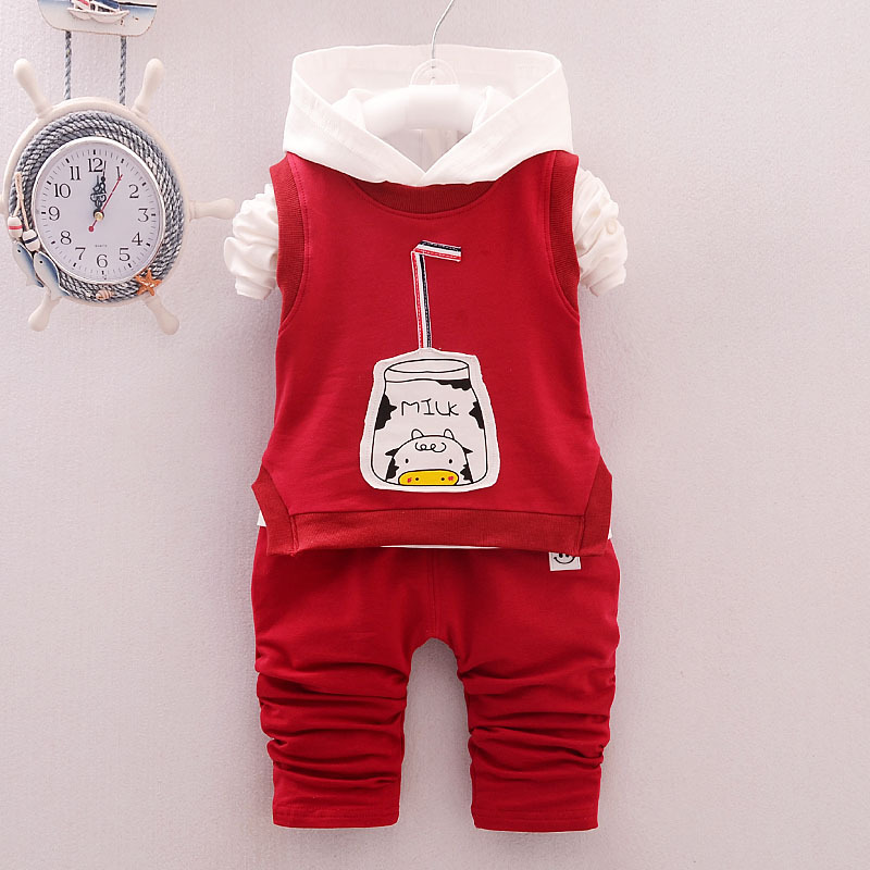 Baby Boys&Girls Clothing Sets,Top T Shirt+vest+Pants Girls Spring Autumn Baby Clothes,Long Sleeve Cotton Bottles Cute 3pcs Sets kids clothes sets wholesale spring and autumn boys sports leisure suit t shirt hoodie long pants free shipping in stock