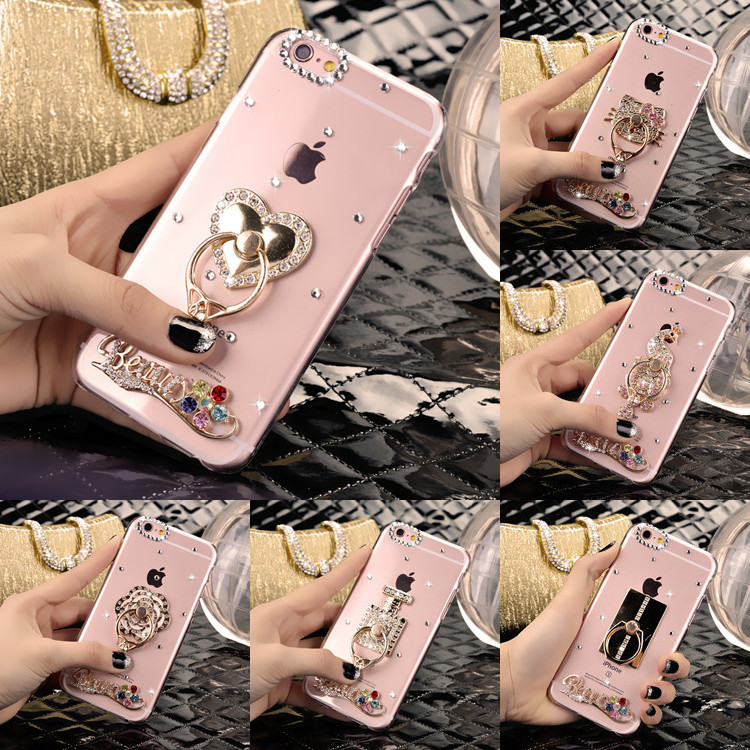 For Iphone 7 Plus 8 Plus Phone Case Rhinestone Phone Covers for Apple Iphone 7 8 PC Cases Cover Finger Kitty Ring Kickstand Case