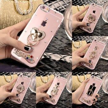f0759c0890e Para LG K7 X210 X210DS MS330 teléfono caso Rhinestone teléfono cubre para LG  K7 fundas para PC cubierta dedo gatito caja del anillo
