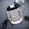 Men Luxury Sweater 2016 Autumn Stripe Mens Warm Sweaters Casual Wool Pullover Men Knitwear O-Neck Patchwork Knitted Sweater Men