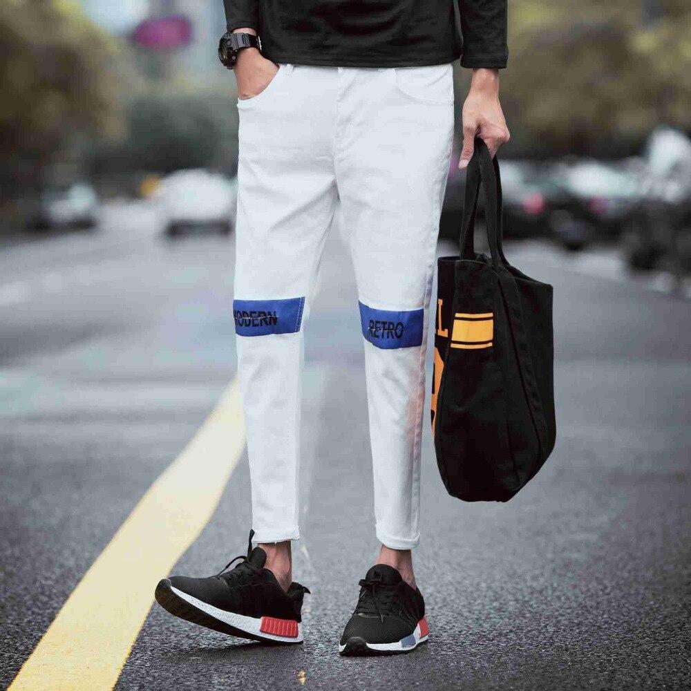 #1929 Spring Autumn 2016 White/Black ripped jeans men Fashion Slim fit Korean Skinny Ankle-length hip hop jeans Punk biker denim
