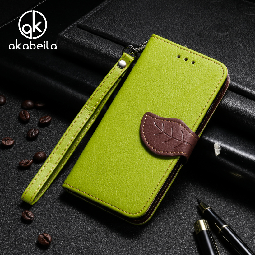AKABEILA PU Leather Mobile Phone Cases For Apple iPhone 7 Plus iPhone7 Plus Pro Case Covers Leaf Shape Magnetic Durable Shell