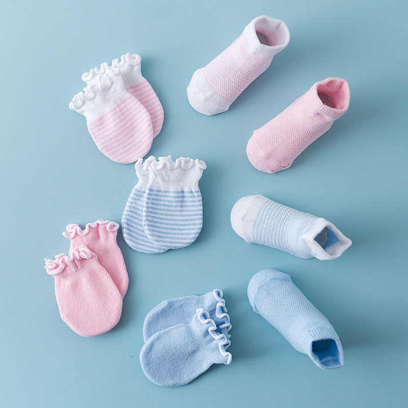 4 Pairs Children Kids Baby Newborn Socks Gloves Anti-scratch Breathable Elasticity NSV775