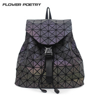 FLOWER POETRY Brand Luminous Geometric Quilted Backpacks Luxury School Bags For Teenage Girls College Student Bag