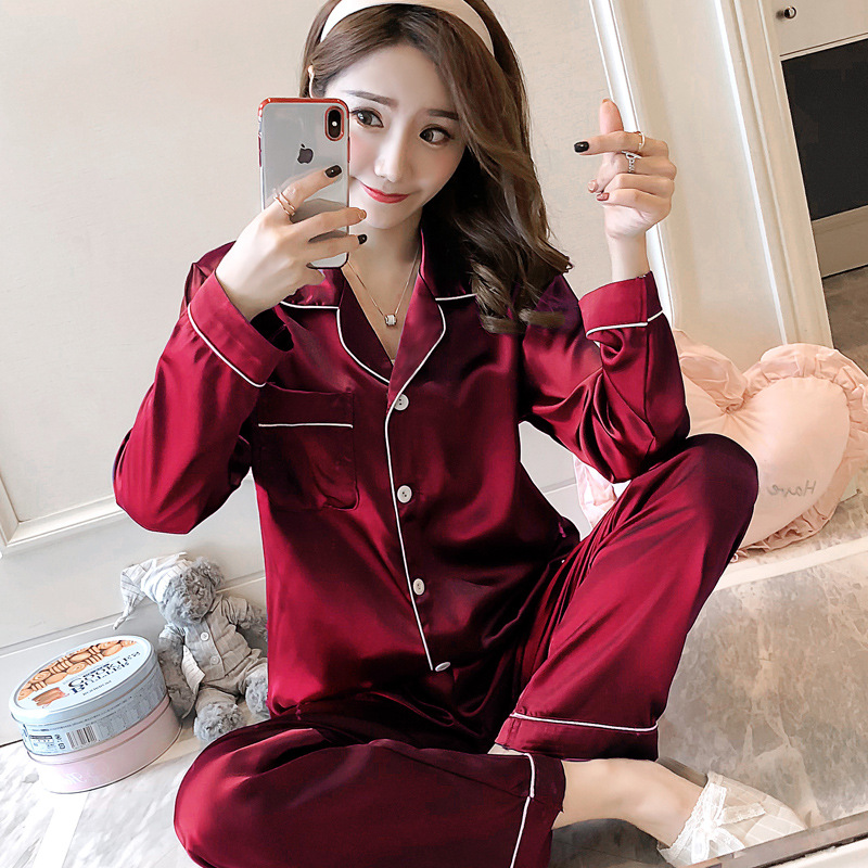 2019 Autumn New Women Silk Satin   Pajama     Sets   Long Sleeve Sleepwear   Set   Two pieces Pijama   Pajamas   Suit Female Breathable Pyjamas