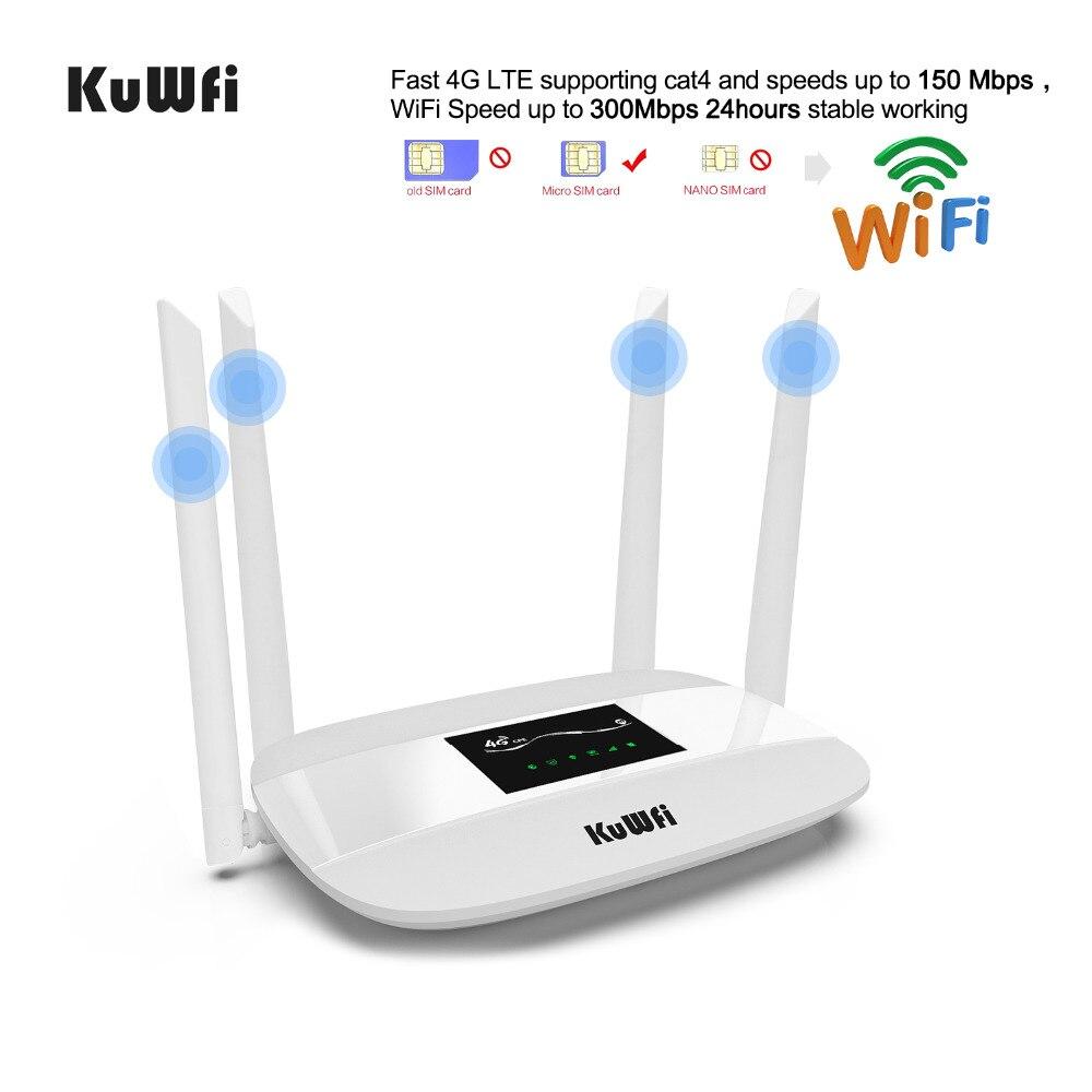 Routeur Wifi 4G LTE débloqué 300 Mbps, routeur CPE sans fil 4G intérieur avec antennes 4 pièces et Port LAN et emplacement pour carte SIM jusqu'à 32 utilisateurs