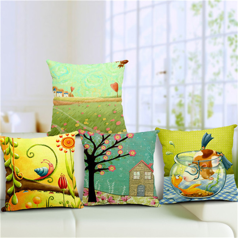 Thermal Usa Textile Fairy Tale Village Sofa Car Decorative Pillow 45Cmx45Cm  Square Sofa Home Car Decorative Outdoor Pillows