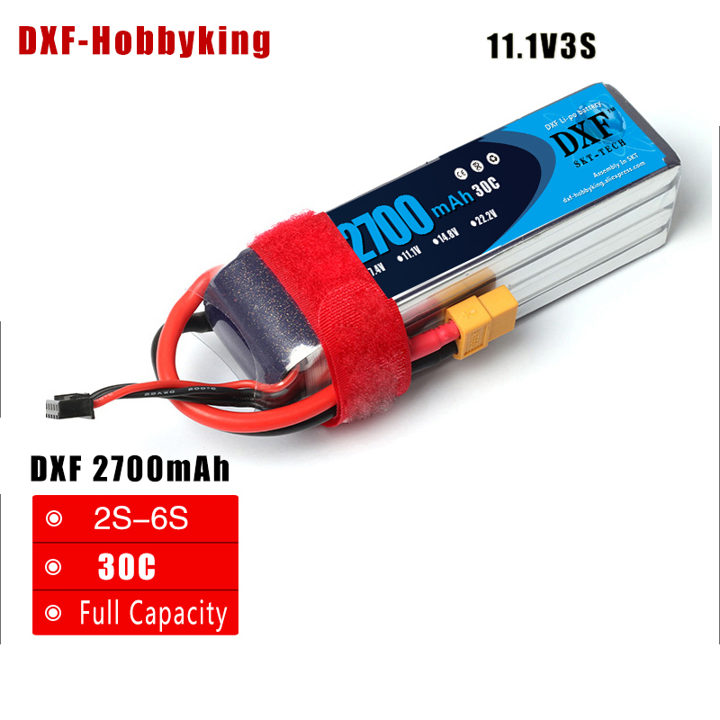 2017 DXF RC Lipo Battery 11.1V 2700MAH 3S 30C MAX 60C T/XT60 Plug LiPo RC Battery For Rc Helicopter Car Boat Drone truck zop lipo battery 11 1v 2200mah 3s 30c max 35c xt60 t plug for rc helicopter qudcopter drone truck car boat