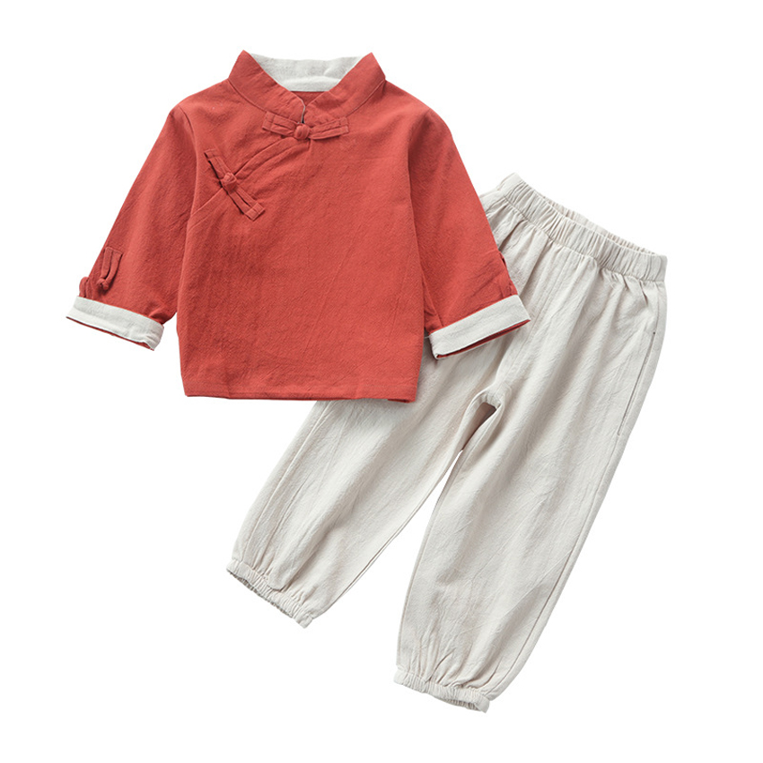 Chinese Traditional Costumes 2PCs Children Clothing Set for Boys Girls Full Sleeve Solid Cotton Hanfu Tang Suit for Kids Boys