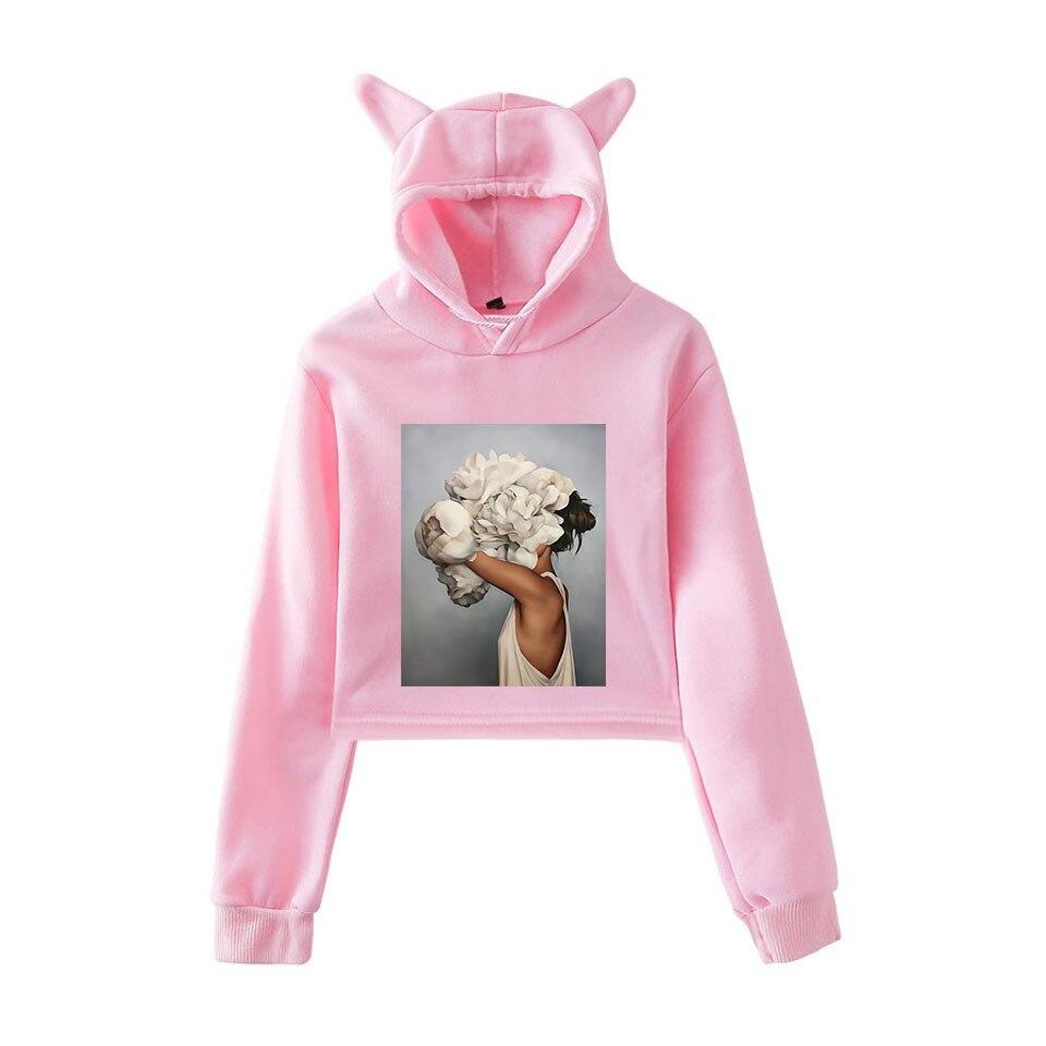 Women Cat Ear Sweater Hoodies Beautiful Flowers Women Long Sleeve Sweatshirts Thin Tops Blouse for Lady