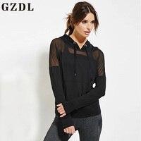 GZDL Plus Size Women Casual Hoodie Pockets Mesh Patch Work Shirt Blusas Long Sleeve Black Hooded