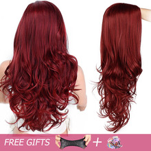 Long Red Wavy Synthetic Wig For Black/White Women High Density Temperature Hair Glueless Wave Cosplay Hair Wig AISI HAIR black mixed white side parting medium wavy women s fashion synthetic hair wig