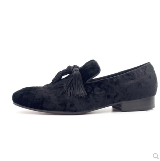 Fringe Mulas Negro Terciopelo Partido Elegante Zapatos Primavera Oxfords Boda Pisos Vestido Borlas Ocasionales 1 Hombre Moda BEzqw55