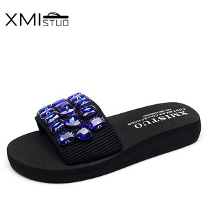 Image 5 - XMISTUO Fashion Women Handmade Sandals Solid Diamond Female Summer Beach Water Resistant 3CM Low Heeled Slippers 9 Color 7167