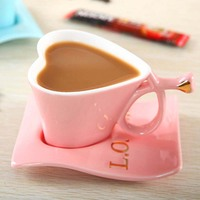 Creative heart shaped ceramic Coffee Mug cup and saucer Tea cup Sets Heart Love Letter Lover Friend Gift 150ml