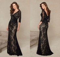 GP5 Formal V Neck Vestido De Festa Long Mermaid Black Lace Evening Dress 2016 New 3