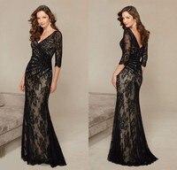 GP5 Formal V Neck Vestido De Festa Long Mermaid Black Lace Evening Dress 2016 New 3