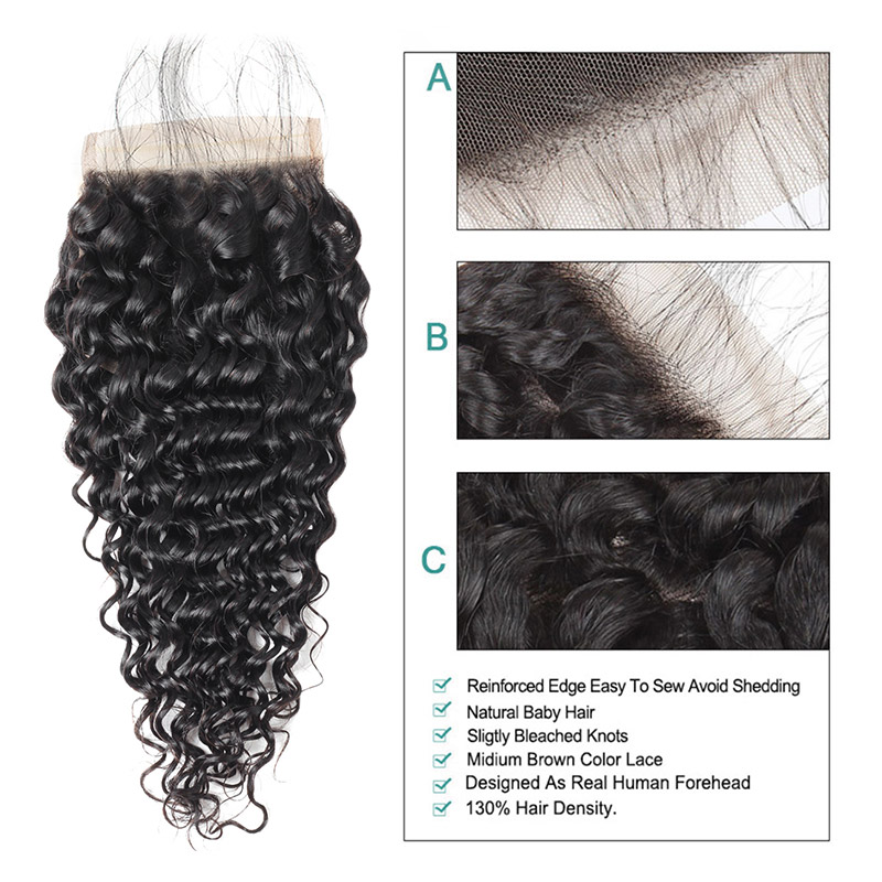 Young look Brazilian Hair Weave Kinky Curly 4*4 Lace Closure Natural Color Human Hair Swiss Lace Closure Non Remy Hair