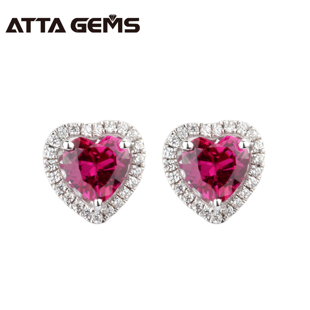 Red Ruby Silver Stud Earring 2 Carats Ruby in Hearts 6mm Red Ruby Sterling Silver Women's Engagement Earring Top Quality путь ruby