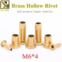 цена на 100pcs High Quality M6*4 6mm Brand New Copper Hollow Rivet Fastener Double-sided Circuit Board PCB Vias Nails