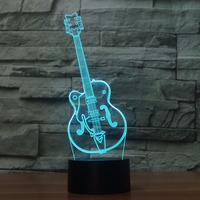 3D LED Artistic Guitar Shape Table Lamp Fashion Sculpture Night Light 7 Colors Changing Atmosphere Touch