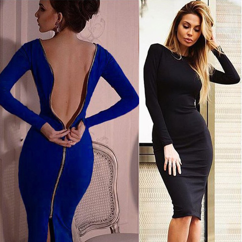 Spring new large size Bodycon dress Solid Color Round neck long sleeve Back zipper tight dress Female Fashion Clothes D1240 1