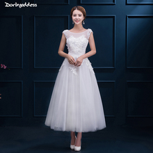 Vintage Lace Short Wedding Dresses Plus Size Robe De Mariee A Line Cap Sleeves Tea Length Cheap White Red Wedding Dress 2017