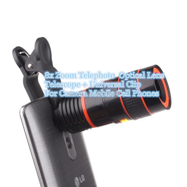 Caliente Óptico Lupa lente Telescopio Del Zumbido 8X lente de la Cámara Teléfonos Inteligentes Para sony z4 z2 z1 mini compacto xp/para iphone 6 s plus 5c 4