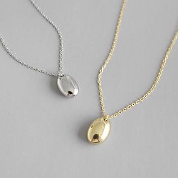 31e91e82c112 HFYK de plata de Ley 925 Collar de plata para las mujeres de oro Simple de  plata elíptica colgante collares de moda joyas de plata 925