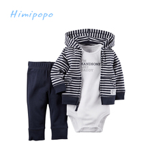 HIMIPOPO 2017 New Children Clothing Set Baby Boys Clothes Suit Infant Spring Autumn Clothing Cotton Cardigan Coat Set 3pcs