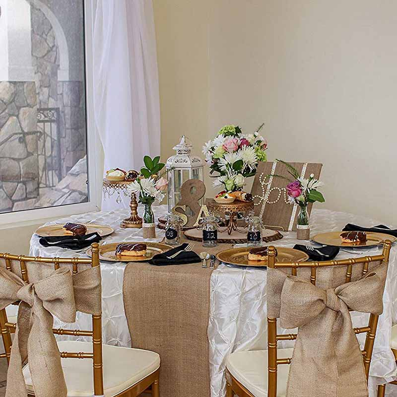 Wedding Gift Table Ideas: 10M Burlap Roll Fabric Diy Table Runner Chair Sashes