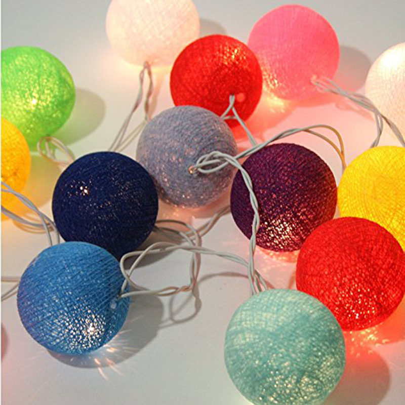 Ball String Lights, Tree Lights Lantern Cotton Ball Lamp,9.8ft Long LED Fairy String Lights Christmas Wedding Holiday, Patio
