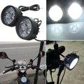 2x12 V Universal Motocicleta Espelho Retrovisor de Moto 4 LED Farol Nevoeiro Luz