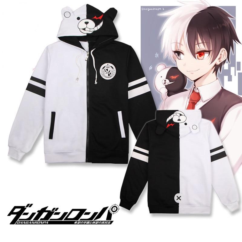 Danganronpa monokuma Sweatshirts Cosplay Costume Autumn winter fashion Jackets Game anime men Thicken Hooded zipper sweater
