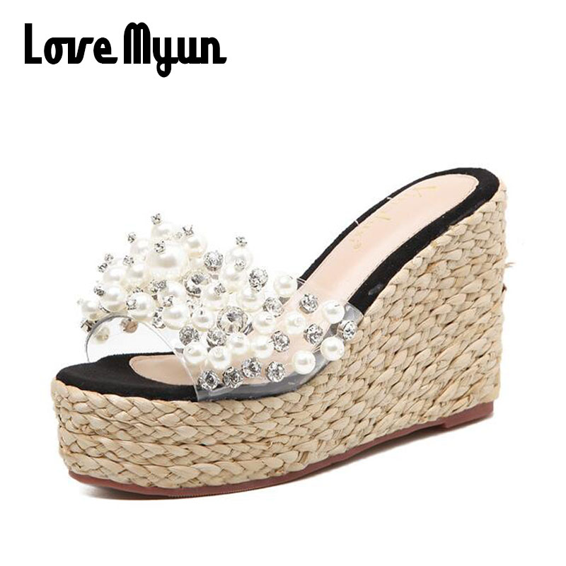 New Bling Wedges 2018 Lady Summer Casual Sandals Straw Flip Flops Platform Slides String Bead Shoes Woman Beach Slippers SC-61