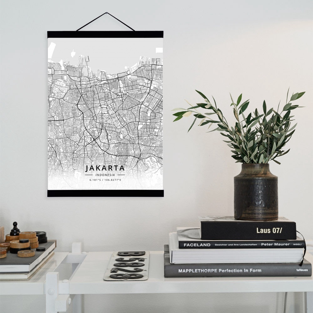 Jakarta Indonesia City Map Wooden Framed Canvas Painting Home Decor