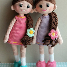 handmade crochet girls baby toy crochet doll rattles