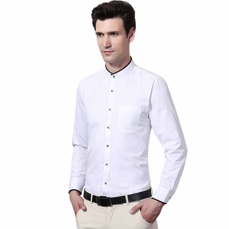 4bdfc4938da03 Formal New Men Dress Shirts Long Sleeve Mandarin Collar Pure Color  White/Black Work Wear Clothing Soft Party Men Business Shirt