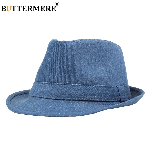 1fe54602ab7 BUTTERMERE Men Vintage Fedora Hats Denim Female Stylish Classic Casual Jazz  Hat Jeans Btitish Style Fancy Ladies Hats And Caps