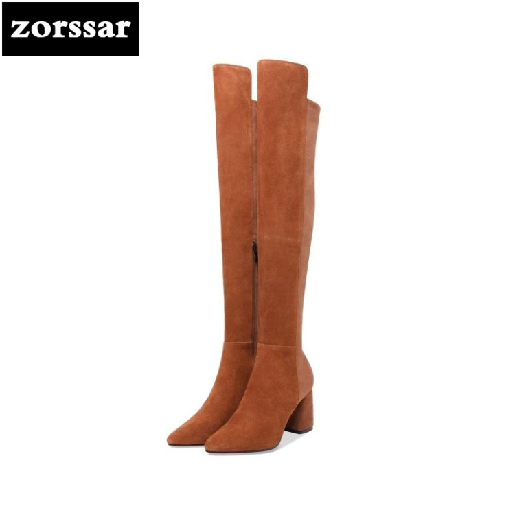 {Zorssar} 2019 Suede Leather Women Over The Knee Boots High heel snow boots fashion womens thigh high boots Winter plush Boots zorssar 2019 new fashion female snow boots winter plush thigh high boots suede leather flat heel women over the knee boots