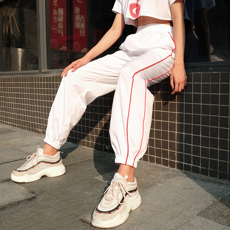 White Striped Women Sweatpants Casual Baggy Harem   Pants     Capri   Pockets Fashion Long Trousers Streetwear Female Joggers