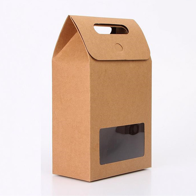 Kraft Paper Food Packaging Bag With Window And Handle For