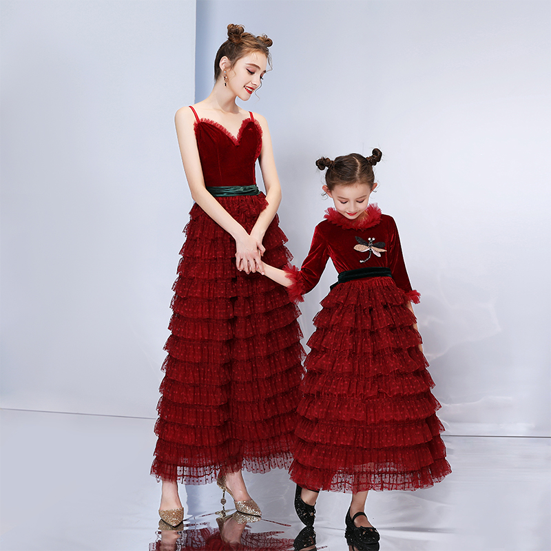 3c0e64179 Mommy and Me Wedding Dress for Mother Daughter Clothes New Design Family  Look Matching Outfits Clothing