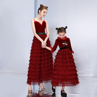 Mommy and Me Wedding Dress for Mother Daughter Clothes New Design Family Look Matching Outfits Clothing Mama Baby Like Mom Dress