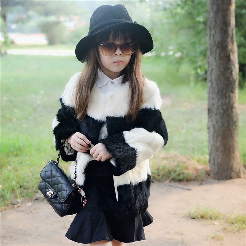 Fashion Children Real Rabbit Fur Coat Outwear Kids Girls  Winter Natural 100% Rex Rabbit Fur Long Warm Jacket Coat for Girls 2017 children wool fur coat winter warm natural 100% wool long stlye solid suit collar clothing for boys girls full jacket t021