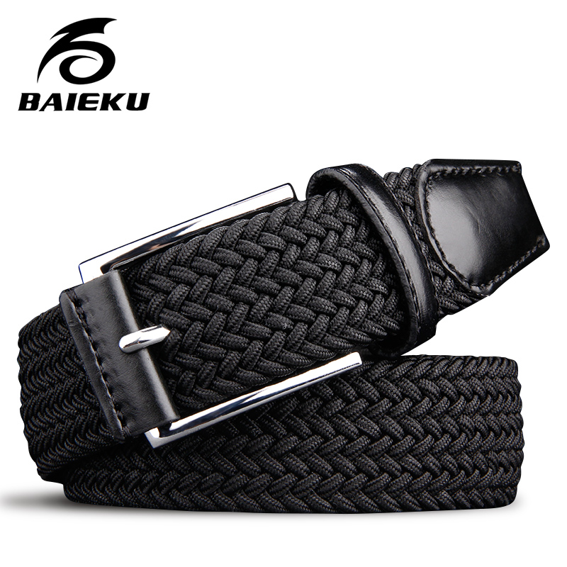 Men's elastic waistband ELASTIC   BELTS   for boys Stretch braided high quality man fashion 2018 black canvas   BELT