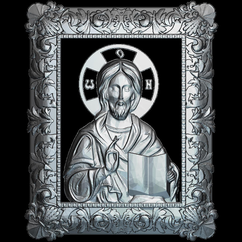Icon Of Jesus Christ 3d Model For Cnc STL Format Religion 3d Relief Model STL Router 3 Axis Engraver ArtCam