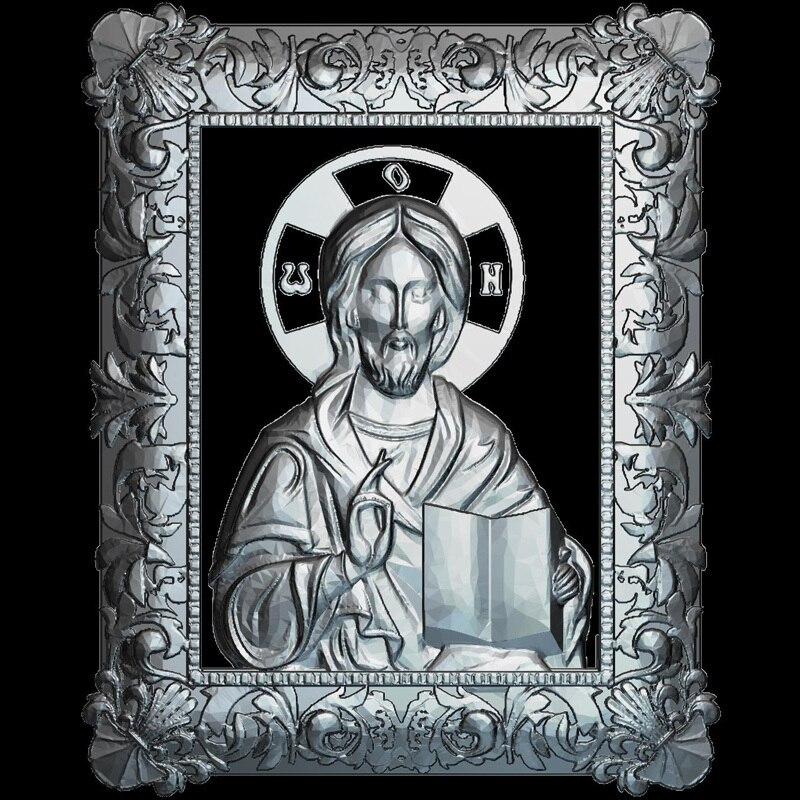 Icon von Jesus Christus 3d modell für cnc STL-format Religion 3d Relief Modell STL Router 3 achsen Engraver ArtCam