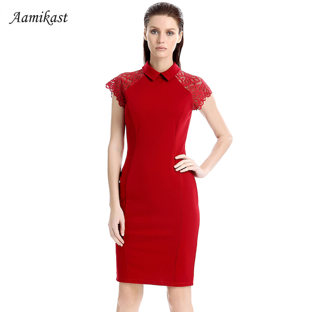 Aamikast Women Vintage Peter Pan Collar Solid Color Lace Dresses Elegant  Chinese Style Pencil Dress Party Office Vestidos 236d1f6edc3d